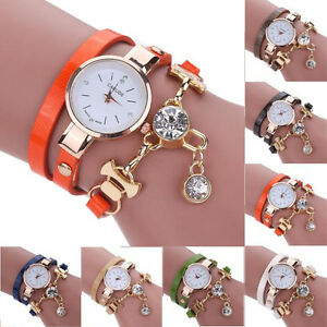New-Women-039-s-Fashion-Ladies-Faux-Leather-Rhinestone-Analog-Quartz-Wrist-Watches