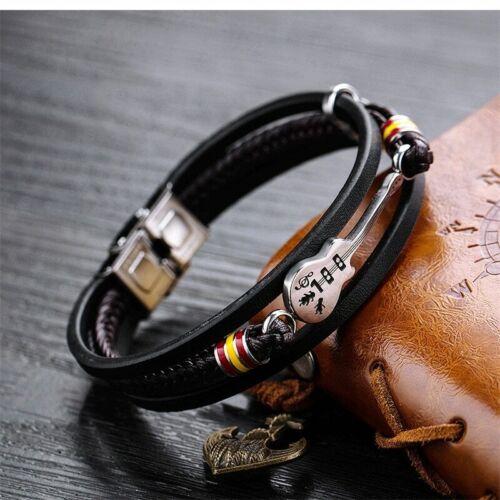 Men Women Braided Leather Guitar Bracelet Multi Layer Bangle Valentines Gifts