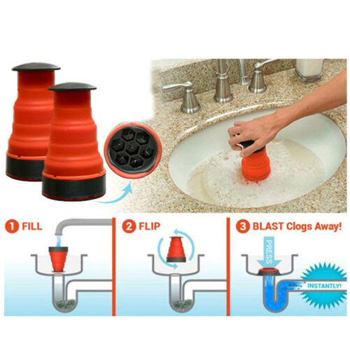 Manual Clog Remover Cannon Air Power BlasterCleaningTool for Kitchen Toilet #r