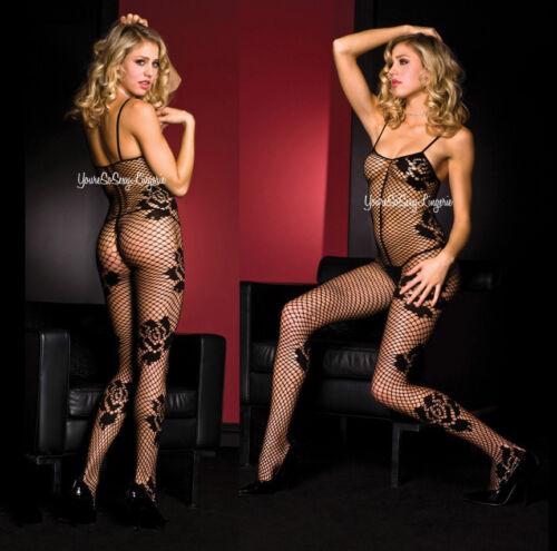 ROSE BODY STOCKING Diamond Net CROTCHLESS 12/% Spandex Tank Style Spaghetti Strap