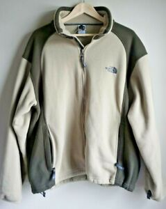 The-North-Face-Men-039-s-Large-Heavy-Fleece-Green-and-Taupe-Zip-up-Jacket-EUC