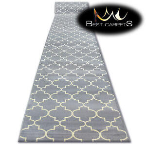 Modern-Hall-Carpet-Runner-BCF-BASE-grey-TRELLIS-Stairs-60-120cm-extra-long-RUGS