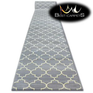 Modern Hall Carpet Runner Bcf Base Grey Trellis Stairs 60