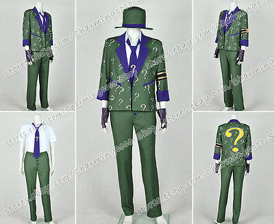 Edward Nigma Costume Green Uniform Batman Arkham City Cosplay The Riddler Dr
