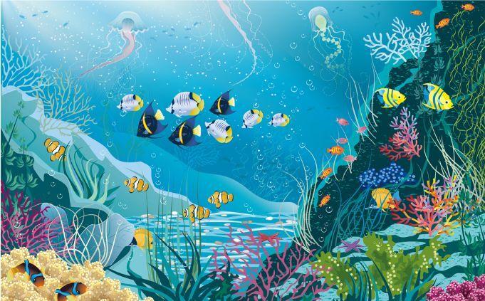 3DTiefsee-blaue Fische 722 Fototapeten Wandbild Fototapete BildTapete Familie DE