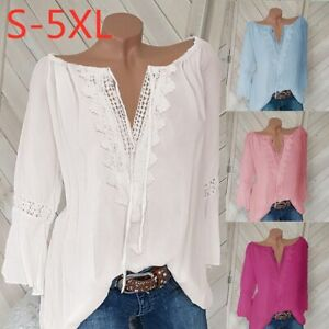 Women-4-18-Boho-Hippie-Peasant-Tunic-Blouse-Shirt-Top-Lace-Off-shldr-Pullover