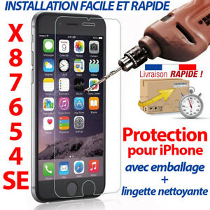 VITRE-PROTECTION-VERRE-TREMPE-FILM-PROTECTEUR-ECRAN-IPHONE-6-7-8-S-PLUS-X-5-4-SE