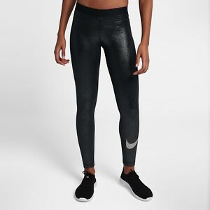 b48af4b487feed Nike Pro Sparkle Women's Training Tights Metallic S Black Silver ...