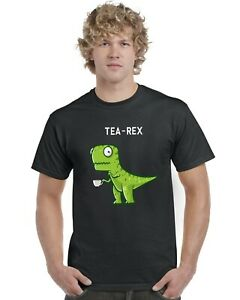 Tea-Rex-Funny-Dinosaur-Drinking-Tea-Adults-T-Shirt-Tee-Top-Sizes-S-XXL