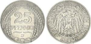 Empire 25 Pfennig J.18 1910 J Vf-Xf 51129