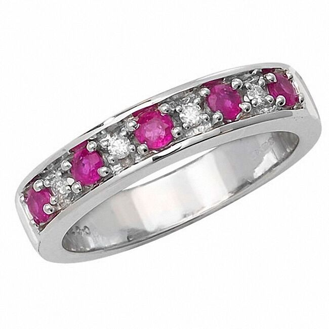 Half Eternity Ring Ruby and Diamond White gold Large Size R-Z  Certificate