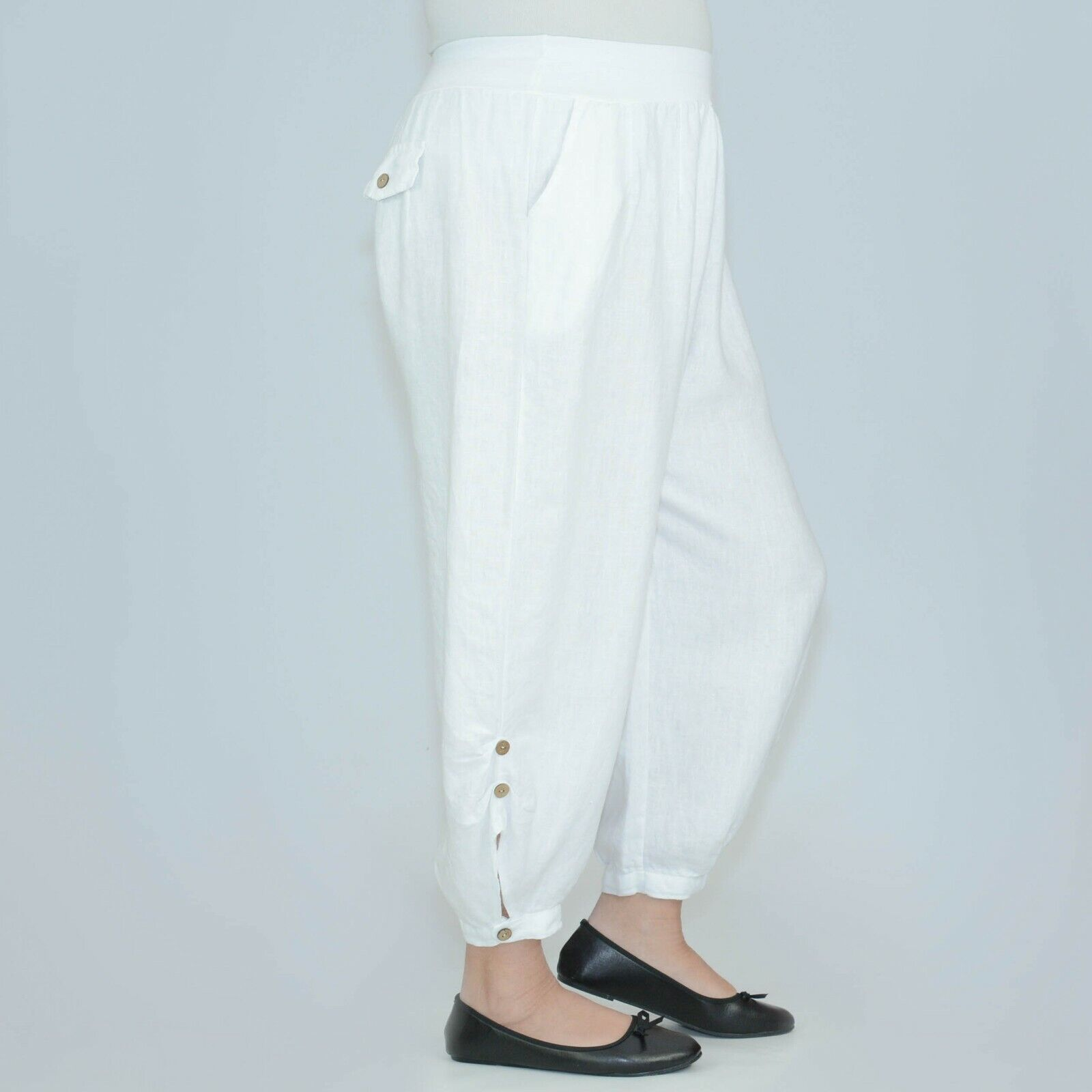 Plus Size Loose Linen Trousers 16 18 20 22 24 26 28 30 32 Womens Summer 8336
