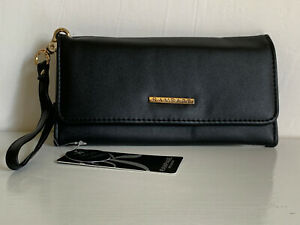 NEW-RAMPAGE-BLACK-LEATHER-PHONE-HOLDER-CLUTCH-WALLET-WRISTLET-38-SALE