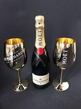 Moet Chandon Impérial Champagner 0,75l Flasche 12% Vol + 2 Gold Echtglas Gläser