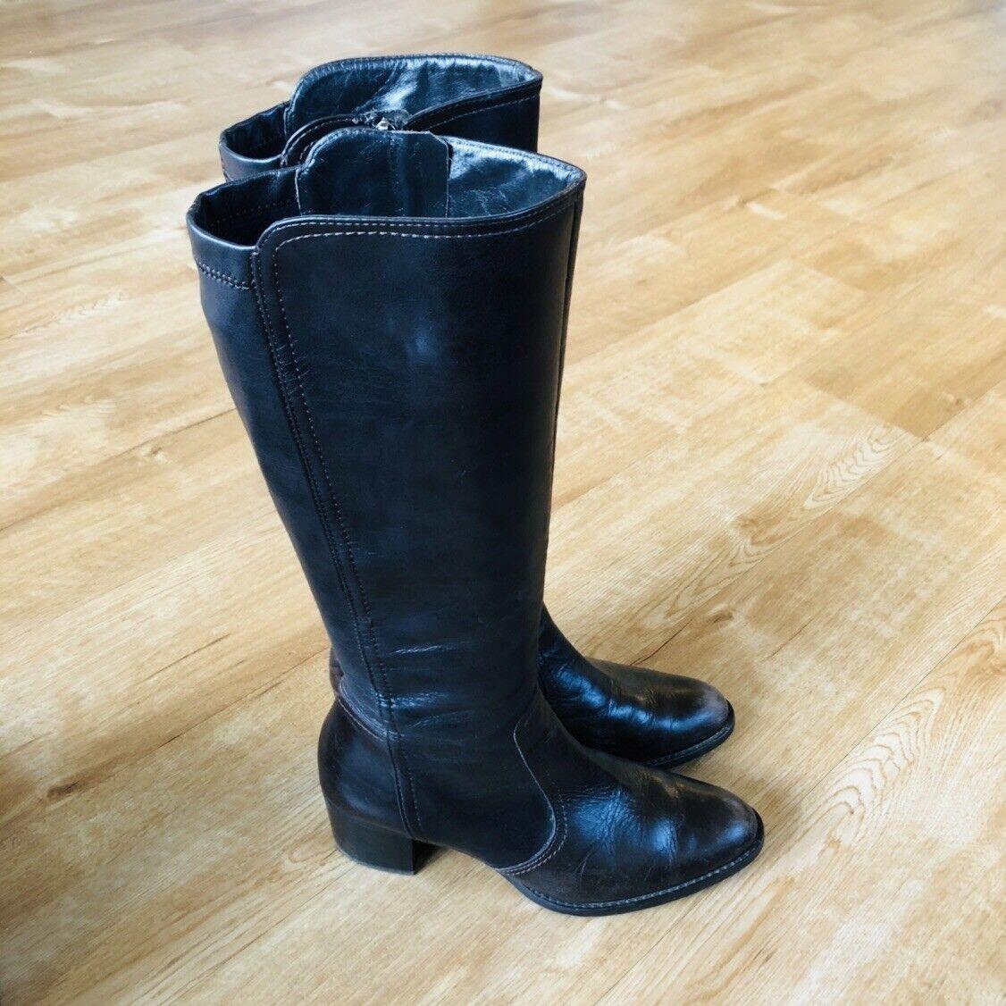 mujer's Paul verde marrón Leather Tall botas 7