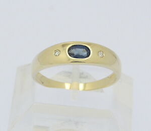 Bandring-in-14kt-585-Gelb-Gold-mit-Saphir-Safir-Brillanten-Brillant-Diamant-Ring