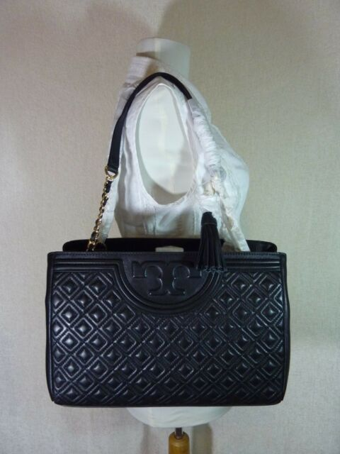 e06be8f296a Tory Burch Fleming Open Shoulder Bag Handbag Purse in Black Leather ...
