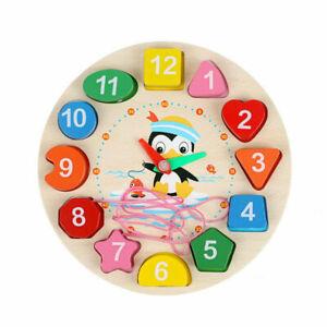 En bois horloge puzzle TRI jouet pour bébé enfants Jouets éducatifs Cadeaux Neuf