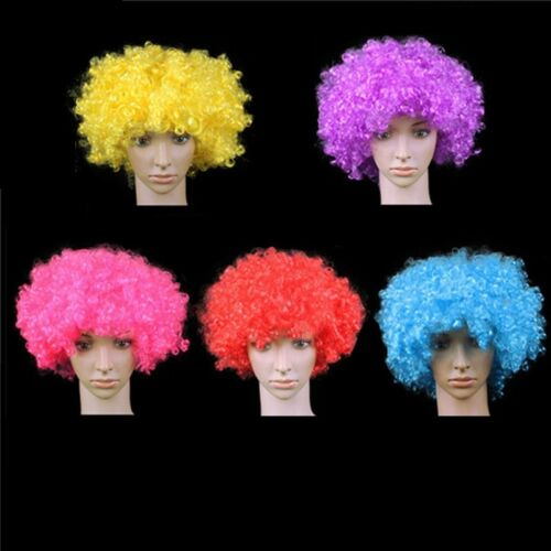 Afro Curly Wig Fancy Multi Color Party Funky Clown Hair Disco Kids Child Adults