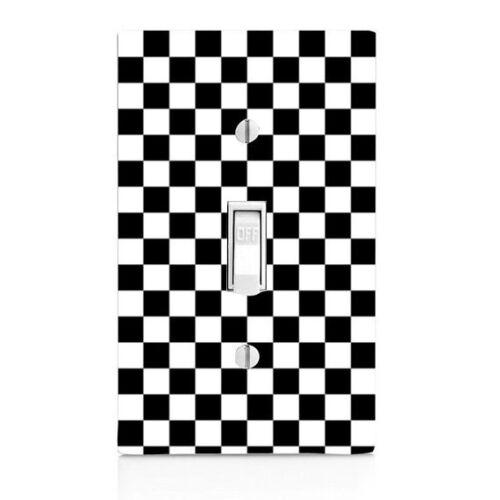 knob knobs Race Car Light Switch Cover Nascar Kitchen Decor Checkered Flag
