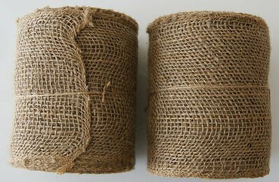 """5.5/"""" Wide JUTE BURLAP Mesh Ribbon Roll Natural Tan 30 ft Finished Unwired Edge"""