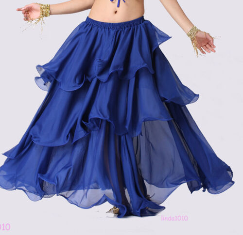 New Dancing Costume Belly Dance Costume 3 layers circle Spiral Skirt 12 colors