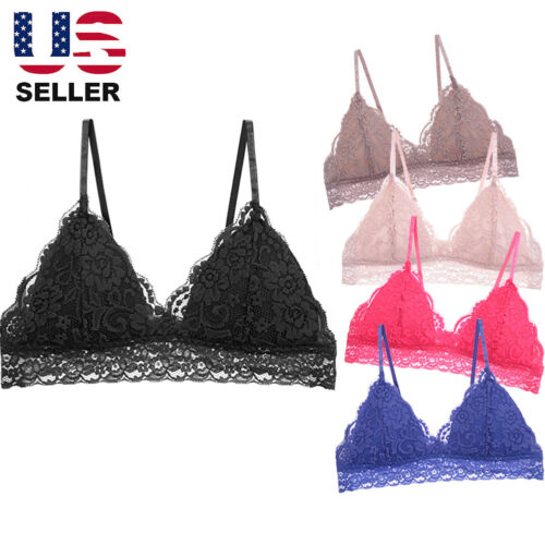 Floral Lace Triangle Bra Bralette PADDED Bustier Crop Top V Neck Plunge Cami Sum