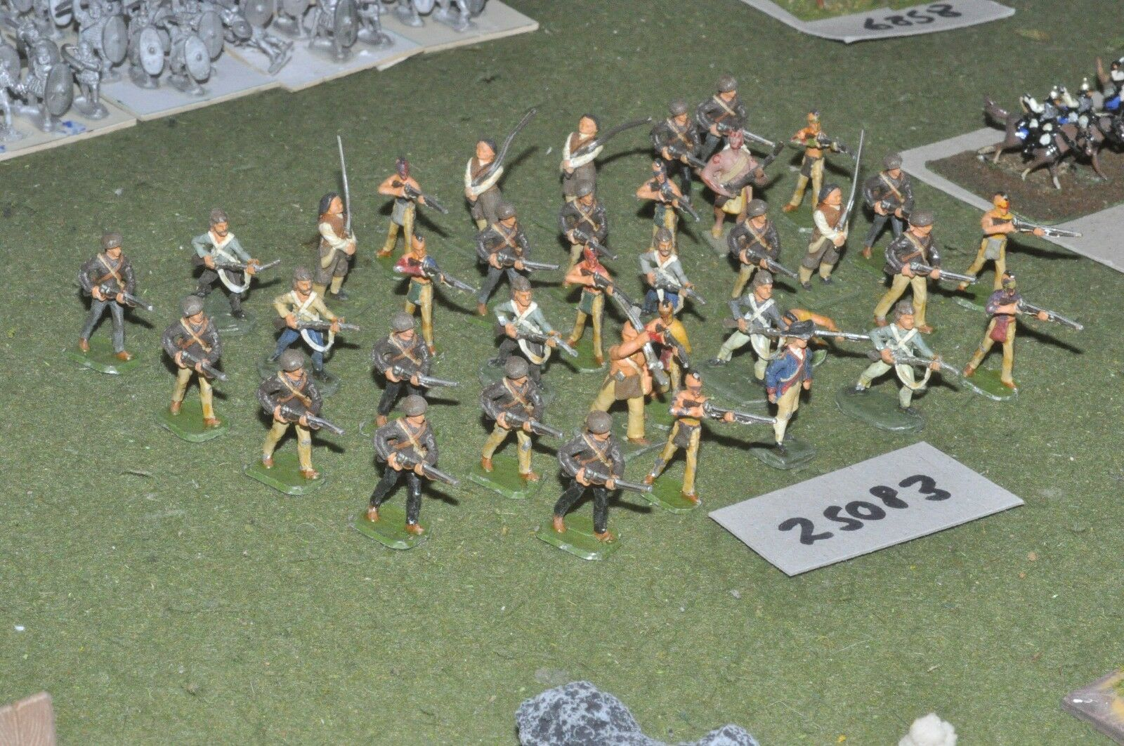 25mm 7YW   american - old school indians & militia 36 figures - inf (25083)
