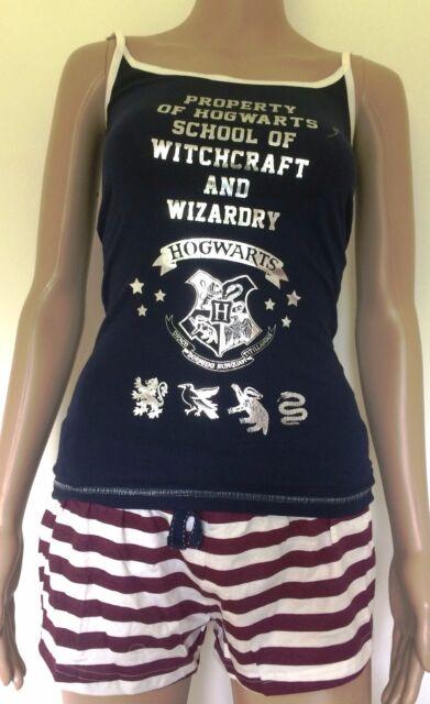 Harry Potter Hogwarts Nightwear Ladies Official Cami Vest Shorts Pyjama Primark