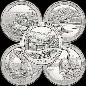 BU CONDITION 2014 US QUARTER SMOKY MOUNTAINS P in BRILLIANT UNCIRCULATED