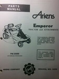 Image Is Loading Ariens Emperor Riding Lawn Mower 925000 Parts Manual