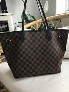 Autentico-Louis-Vuitton-Neverfull-MM-Damier-Ebene-Shopper-con-embrague
