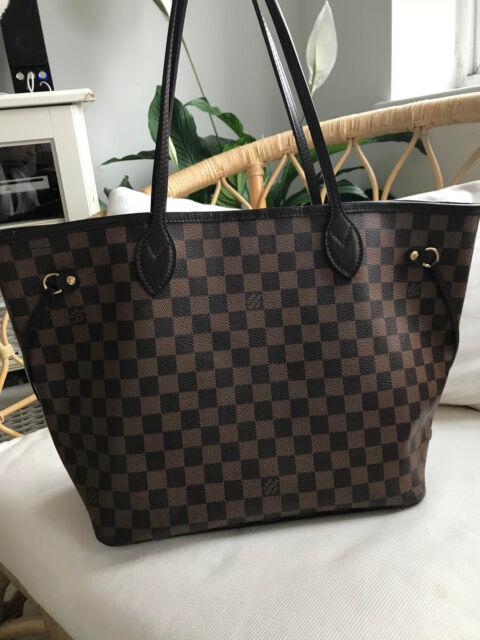 Auténtico Louis Vuitton Neverfull MM Damier Ebene Shopper-con embrague