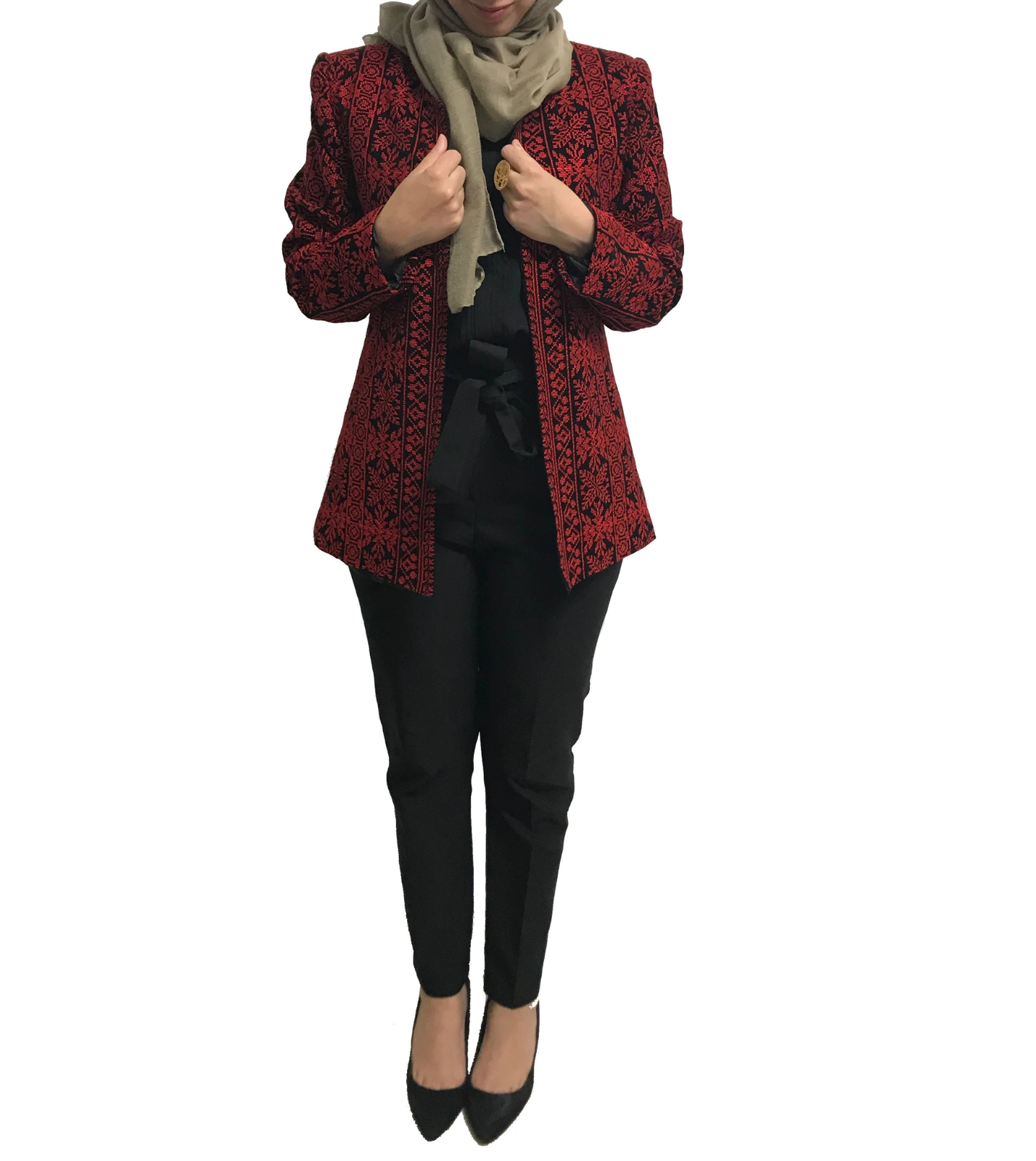 Elegant Embroidered Black Jacket Long Sleeve Traditional Red Embroidery Blazer