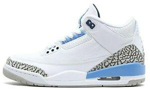 Nike Air Jordan 3 UNC Retro White Valor Blue Size 8 Authentic