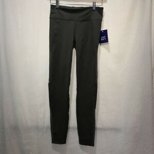 JoyLab-Womens-Leggings-Pants-Gray-Mid-Rise-Hidden-Pocket-Perforated-Mesh-XS-New