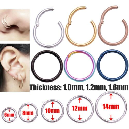 Hinged Segment Nose Ring Helix Ear Cartilage Lip Piercing Titanium Ring Hoop 1PC