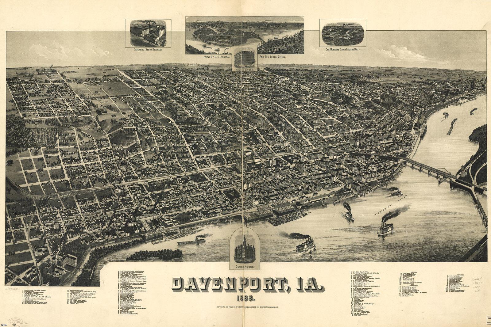 Poster, Poster, Poster, Molte Misure; Mappa Del Davenport, Iowa bea356