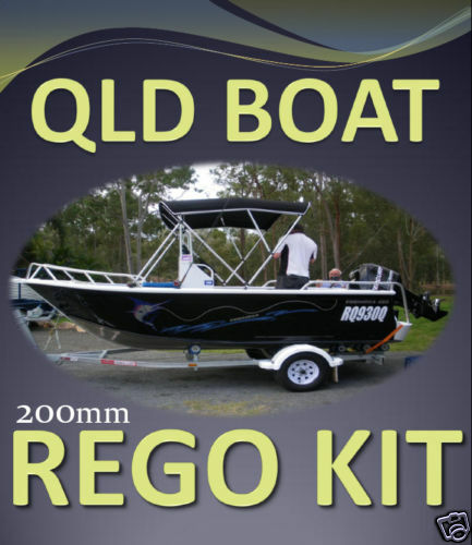 QLD BOAT REGISTRATION  DECAL STICKER KIT Planing Boat