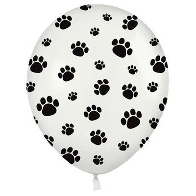 """10 PAW PRINTS BALLOONS 11"""" White Black Dog Puppy Cat Latex Animal Party Pack Set"""