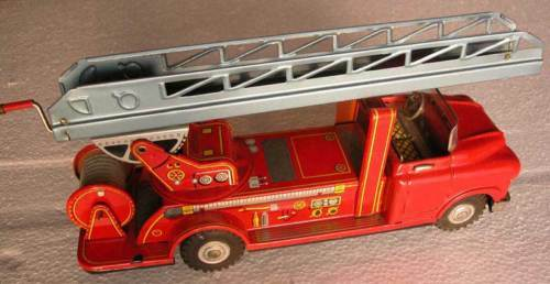 JAPAN TIN FIRE ENGINE FRICTION POWERED POWERED POWERED TOY NEW+BOX 1654a8
