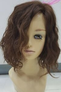 New-Style-Fashion-100-Real-Human-Hair-Full-Wig-Short-Women-Wavy-Brown-Mix