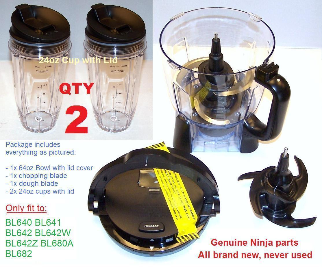 Ninja 64oz Bowl + Lid Blade Dough 2x 24oz Cup for Auto-iQ DUO BL642 BL680 BL682