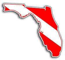 PAIR Florida FL State Scuba Diver Down Flag Bumper Decal Sticker Salt Dive Life