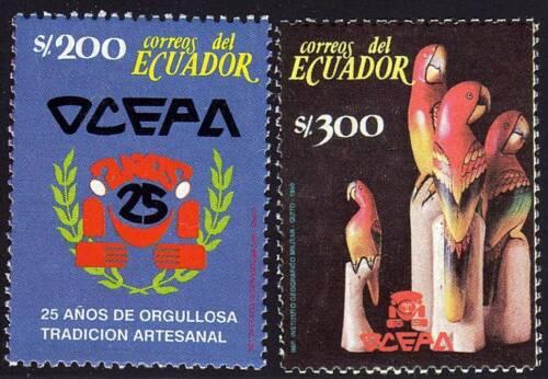 ECUADOR 1990 ARTISAN'S ORGANISATION/ PARROTS BIRDS SC#1251-52 MNH @SCARCE@ (D01)