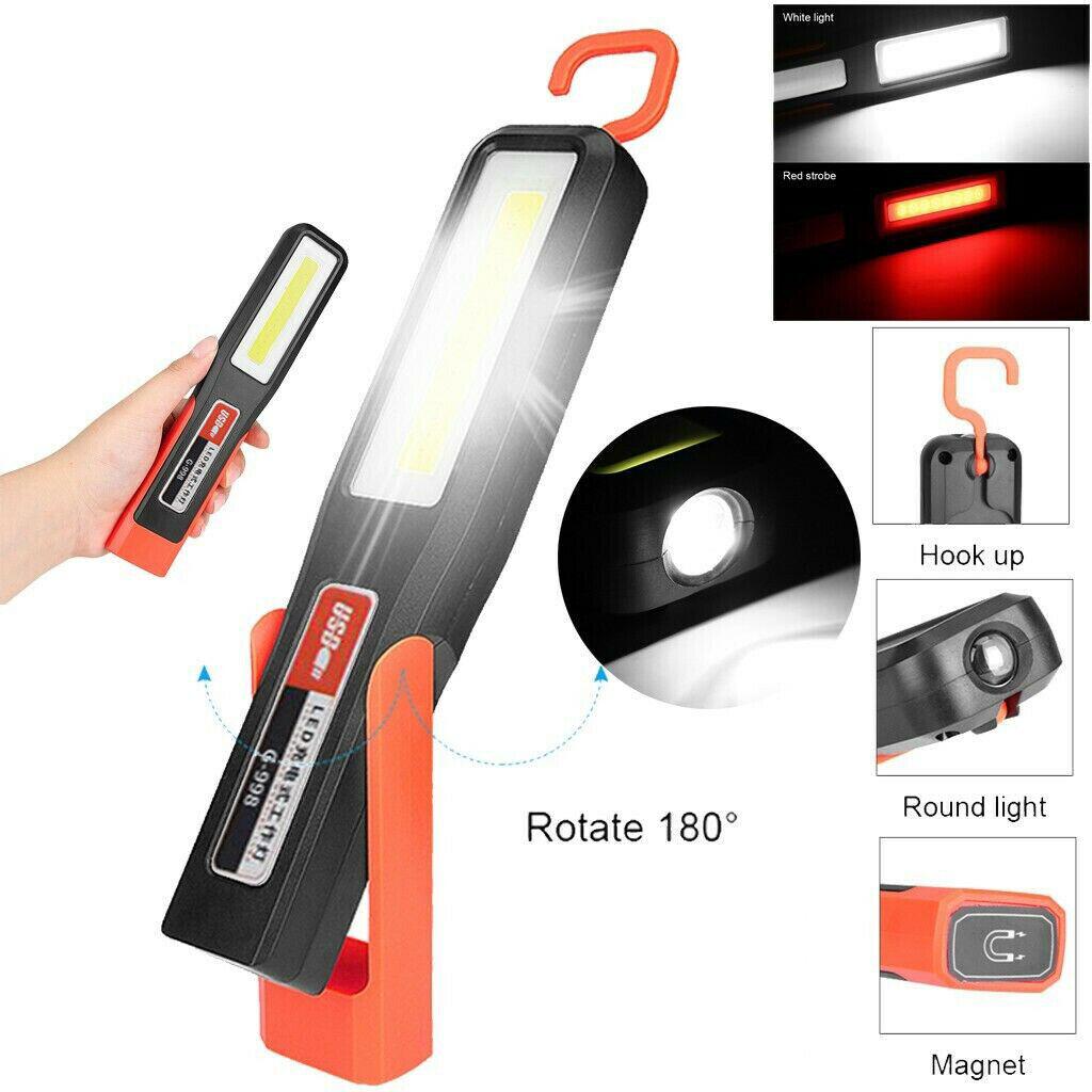 1-4pcs COB LED Flexible Magnetic Inspection Lamp Work Light Rechargeable Torch