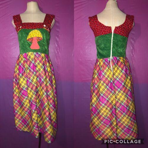 Vintage 50's Mushroom Womens Dress Multicolor Fest