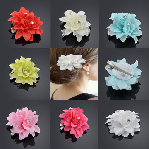 Blume 2 Blumen Strass Haarclip Haarspange Kopfschmuck Haarschmuck Sommer NEU