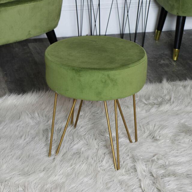 Miraculous Palm Green Velvet Upholstered Stool Copper Hairpin Legs Girly Bedroom Boudoir Frankydiablos Diy Chair Ideas Frankydiabloscom