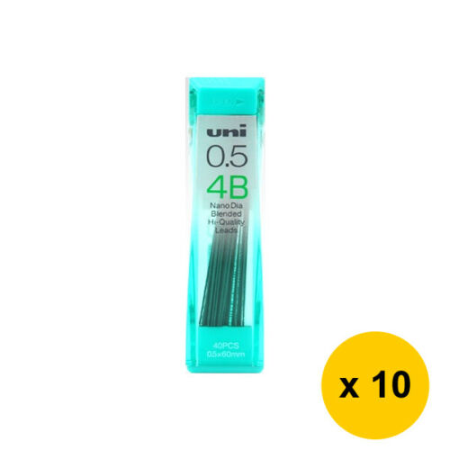 Pack of 10 Uni Nano Dia UNI0.5-202ND 0.5mm 4B Refill Leads Black Friday